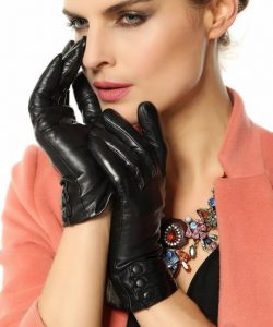 1 Valentine's Gift GSG Popular Classic Women's Sheepskin Warm Touch Screen Leather Gloves