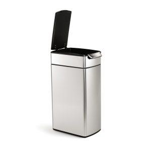 1. simplehuman Slim Rectangular Touch-Bar trash can