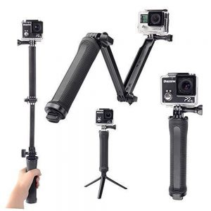 10. Meme 3 Way Selfie Handheld Stick Monopod Foldable Mount Holder Stand Support for Gopro Hero Cameras & SJ4000