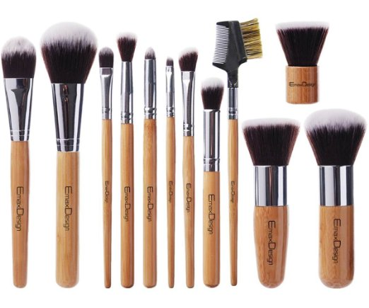 3. EmaxDesign 12 Pieces Makeup Brush Set