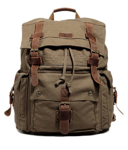 3. Kattee Men's Canvas Leather Hiking Travel Backpack Rucksack School Bag