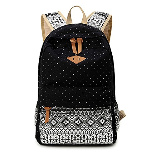 4. Hitop Geometry Dot Casual Canvas Backpack Bag, Fashion Cute Lightweight Backpacks for Teen Young Girls