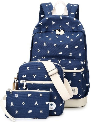 5. Leaper Casual Lightweight Canvas Laptop Bag Shoulder Bag School Backpack