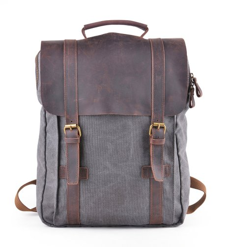6. Gootium 30520 Canvas Backpack For 15.6' Laptop With Full Grain Leather Trim