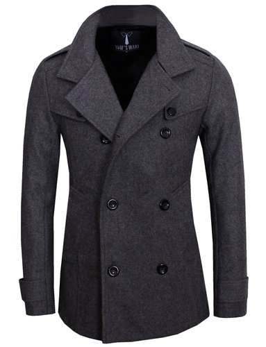8. Tom's Ware Men's Stylish Fashion Classic Wool Double Breasted Pea Coat