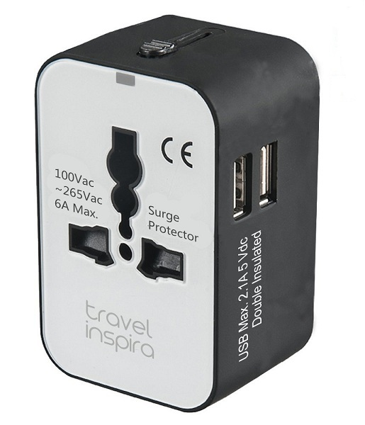 9. Travel Inspira Universal All-in-One Worldwide Travel Power Plug Wall AC Adapter Charger