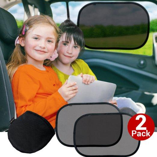 Car Sun Shade (2 Pack) - Large Sunshade Visor Set for Babies & Kids