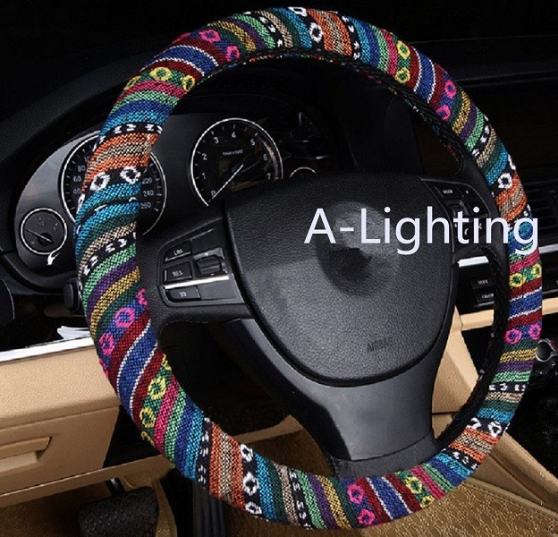 10. A-Lighting Ethnic Style Coarse Flax Cloth Automotive Steering Wheel Cover