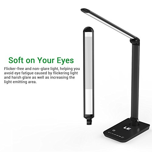 4 LE Dimmable LED Desk Lamp, 7 Dimming Levels, Eye-care, 8W, Touch Sensitive, Daylight White, Folding Desk Lamps, Reading Lamps, Bedroom Lamps (Black)