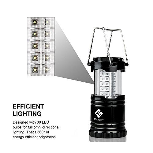 7 Etekcity 2 Pack Portable Outdoor LED Camping Lantern with 6 AA Batteries (Black, Collapsible)