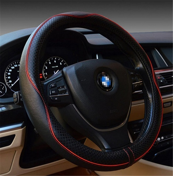 8. Gomass Emboss Top Leather Steering Wheel Cover