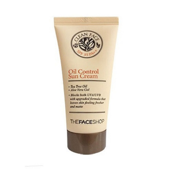 8. The Face Shop Clean Face Oil-Control Sun Cream