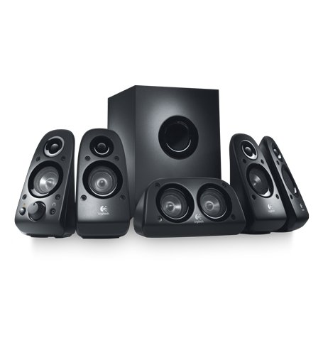 5. Logitech Z506 Surround Sound Home Theater Speaker System, External TV Speakers