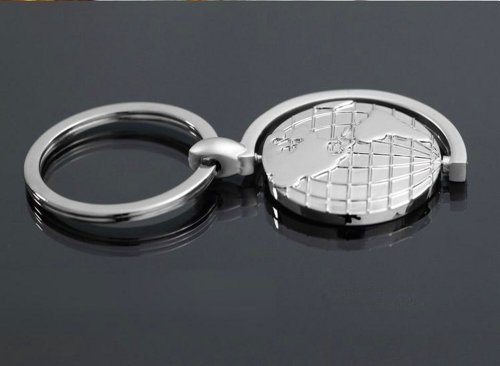 1 4EVER Cool Stainless Steel Silver Globe Couple Keychain 360 Degree Rotation Earth Planet Map Engraved