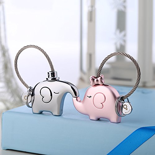 10 One pair of elephant shape couple key chains,Creative cute car key pendant keychain key chain