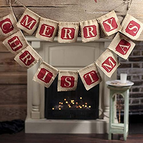 3 Tinksky Merry Christmas Burlap Banners Garlands for Holiday Party Decoration
