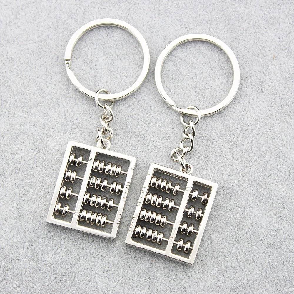 4 FOY-MALL 2PCS Abacus Zinc Alloy Car Keychain for Couple Lovers J1038