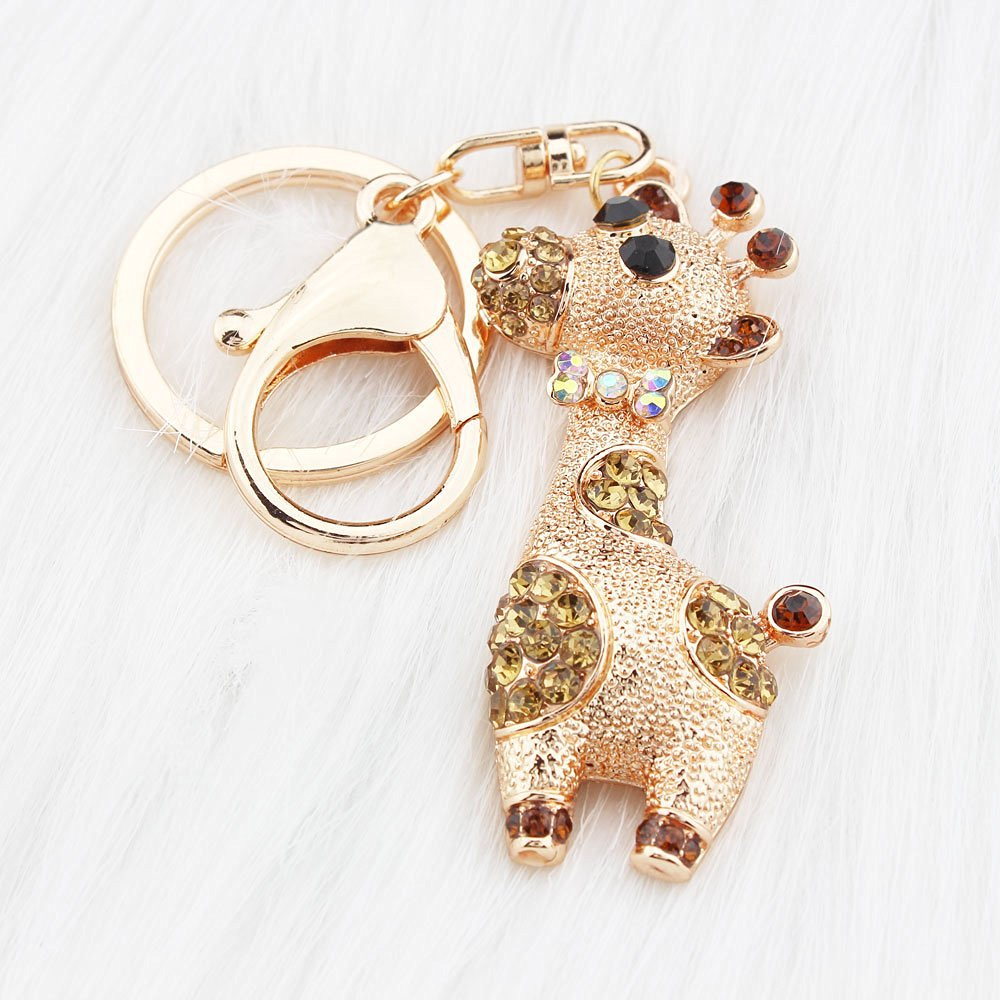 5 FOY-MALL Cute Deer Rhinestone Alloy Couple Bag Keychain Car Key Ring H1054