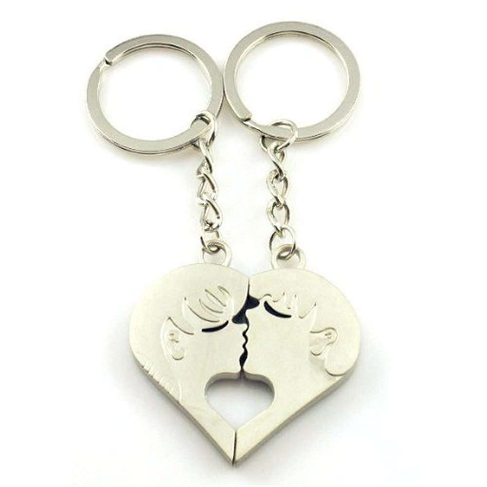 6 4EVER Piece Love Heart Shape Deep Kissing Lovers Couples Keychains (With Gift Box and Greeting Card) Bag Key Rings for Valentine's Day Wedding Anniversary Gifts (A Pair)