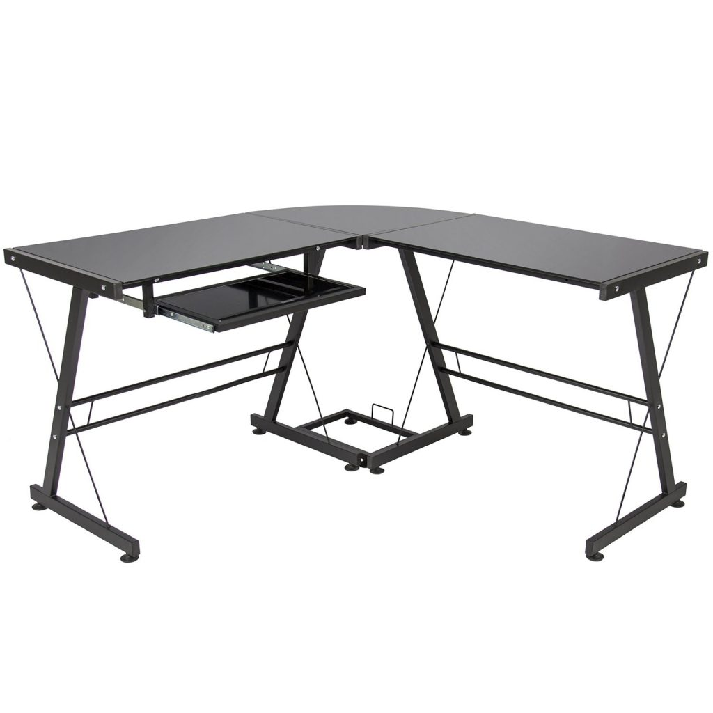 7 Best Choice Products L-Shape Computer Desk PC Glass Laptop Table Workstation Corner Home Office Black