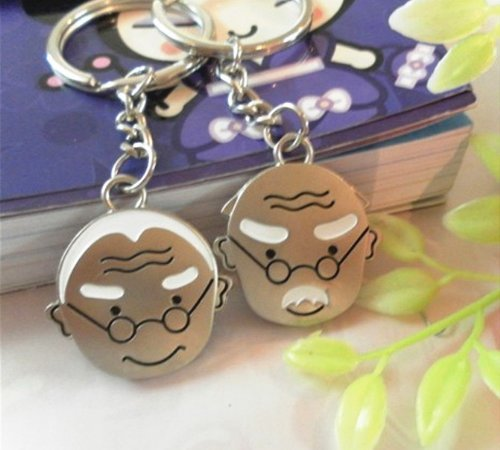 8 Cy3Lf 4EVER Love Life Together Old Man Elderly Couple Keychains Gift for Valentine Wedding Anniversary (A Pair)