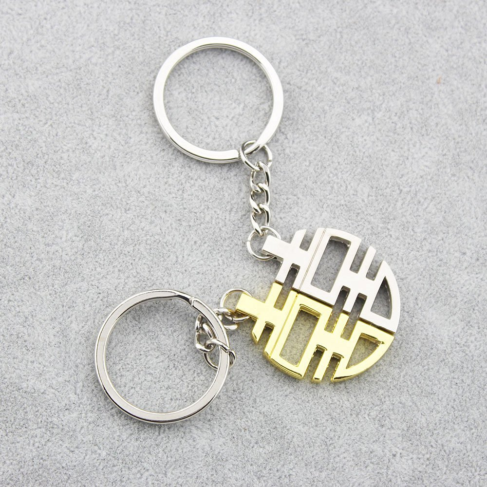 8 FOY-MALL 2PCS Gold and Silver Double Happiness Zinc Alloy Keychain for Couple Lovers J1032