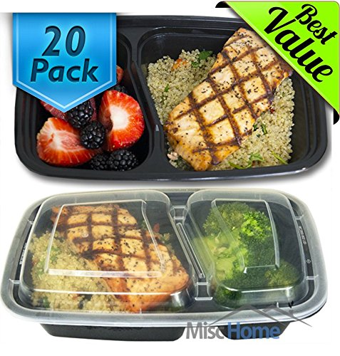 2. Misc Home 32 Oz. 2 Compartment Meal Prep Containers