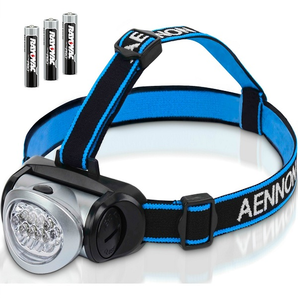 2. Aennon Headlamp Flashlight with Red LED Light