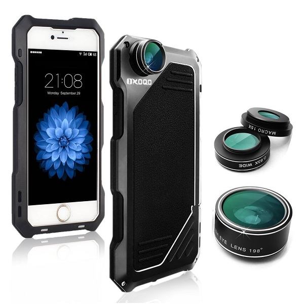 9. OXOQO 3-in-1 Camera Lens Kit with Metal Case & Built-in Screen Protector